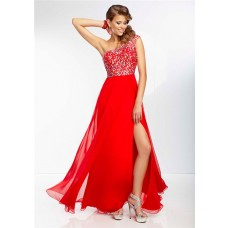 A Line One Shoulder Sheer Back Flowing Long Red Chiffon Beaded Prom Dress With Split
