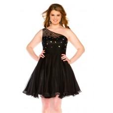A Line One Shoulder Short Black Chiffon Beaded Plus Size Cocktail Party Dress