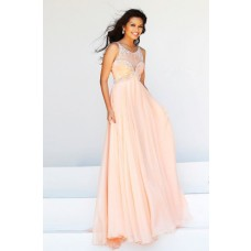 A Line Princess Bateau Illusion Neckline Long Peach Chiffon Beaded Evening Prom Dress