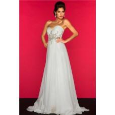 A Line Princess Empire Waist Long White Chiffon Beaded Maternity Evening Prom Dress