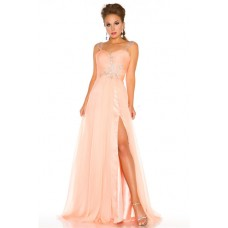 A Line Princess Long Peach Chiffon Beaded Homecoming Prom Dress With Straps