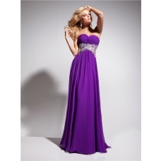A Line Princess Sweetheart Empire Long Purple Chiffon Evening Prom Dress With Beading