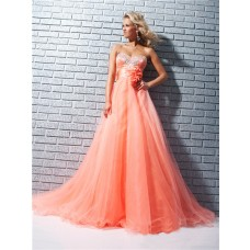 A Line Princess Sweetheart Long Coral Tulle Beaded Prom Dress With Sash Flowers