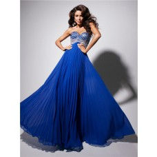 A Line Princess Sweetheart Long Royal Blue Chiffon Pleated Evening Prom Dress With Beading