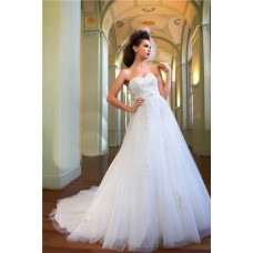 A Line Princess Sweetheart Tulle Lace Beading Sequins Wedding Dress With Sash