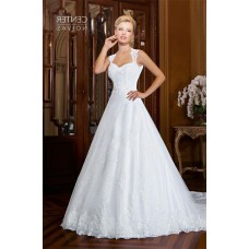 A Line Queen Anne Neckline Open Back Two In One Wedding Dress Detachable Skirt