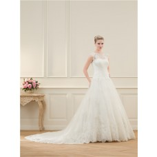A Line Scalloped Neckline Tulle Vintage Lace Beaded Wedding Dress With Buttons Chapel Train