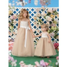 A Line Scoop Neck Champagne Organza Lace Little Flower Girl Dress With Sash