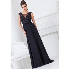 A Line Scoop Neck Illusion Back Black Chiffon Lace Applique Long Evening Prom Dress