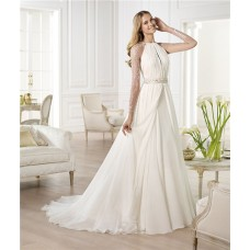 A Line Scoop Neck Open Front Sheer Back Chiffon Wedding Dress With Long Sleeve