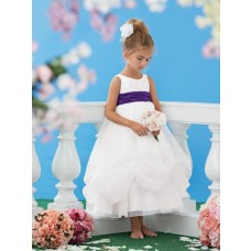 A Line Scoop Neck Tea Length White Organza Purple Sash Wedding Flower Girl Dress