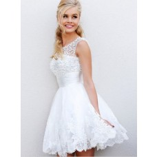 A Line Scoop Neck V Back Short White Tulle Lace Pearls Beaded Party Prom Dress