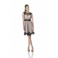 A Line Scoop Neckline Short Champagne Black Tulle Lace Wedding Guest Bridesmaid Dress