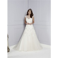 A Line Sheer Scoop Neck See Through Back Cap Sleeve Tulle Lace Sequin Wedding Dress