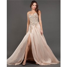 A Line Side Slit Long Light Peach Chiffon Beaded Prom Dress With Spaghetti Straps
