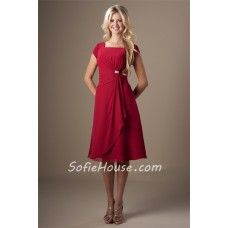 A Line Square Neck Red Chiffon Draped Short Bridesmaid Dress Cap Sleeves
