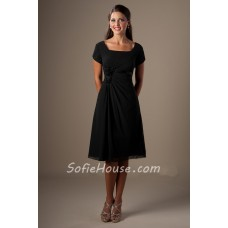 A Line Square Neck Short Sleeves Black Chiffon Party Bridesmaid Dress Corset Back