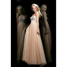 A Line Strapless Empire Waist Long Champagne Chiffon Beaded Occasion Prom Dress