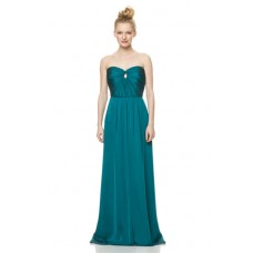 A Line Strapless Front Keyhole Long Jade Green Chiffon Wedding Guest Bridesmaid Dress