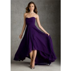 A Line Strapless High Low Hem Purple Chiffon Wedding Party Bridesmaid Dress