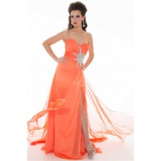 A Line Strapless Long Coral Chiffon Beaded Homecoming Prom Dress With Slit