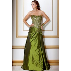 A Line Strapless Long Green Taffeta Beaded Corset Evening Wear Dress