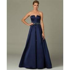 A Line Strapless Long Navy Blue Satin Beaded Belt Formal Evening Dress