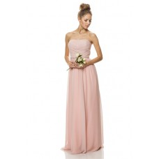 A Line Strapless Long Pearl Pink Chiffon Wedding Party Bridesmaid Dress Beaded Belt