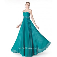 A Line Strapless Long Turquoise Chiffon Pleated Evening Dress Beaded Belt