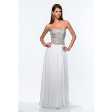 A Line Strapless Long White Chiffon Rhinestone Beaded Prom Dress