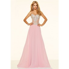 A Line Strapless See Through Long Light Pink Chiffon Beaded Prom Dress
