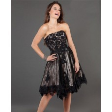 A Line Strapless Short Black Tulle Lace Beaded Party Prom Dress