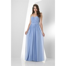 A Line Strapless Sweetheart Long Light Blue Chiffon Ruched Bridesmaid Dress With Belt