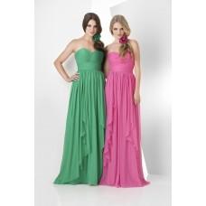 A Line Strapless Sweetheart Long Pink Chiffon Ruffle Wedding Guest Bridesmaid Dress
