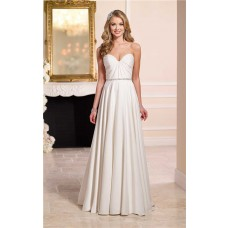 A Line Strapless Sweetheart Satin Pleated Wedding Dress Crystals Belt
