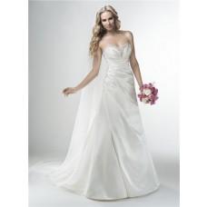 A Line Strapless Sweetheart Silk Satin Draped Wedding Dress Corset Back