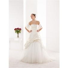 A Line Strapless Taffeta Draped Corset Wedding Dress With Flowers