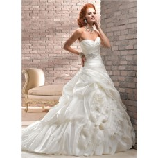 A Line Sweetheart Corset Back Ivory Organza Wedding Dress With Belt Bubble