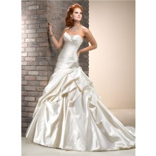 A Line Sweetheart Dropped Waist Cream Champagne Colored Satin Wedding Dress