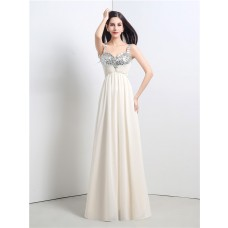 A Line Sweetheart Empire Waist Long Ivory Chiffon Sequin Prom Dress With Straps