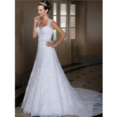 A Line Sweetheart Lace Wedding Dress With Beading Sash Detachable Train