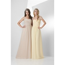 A Line Sweetheart Long Daffodil Chiffon Draped Occasion Bridesmaid Dress Sheer Straps