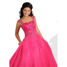 A Line Sweetheart Long Hot Pink Tulle Beaded Teen Prom Dress With Straps