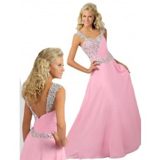 A Line Sweetheart Long Light Pink Chiffon Beaded Teen Prom Dress With Straps