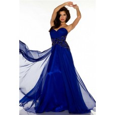 A Line Sweetheart Long Royal Blue Chiffon Beaded Formal Occasion Evening Dress