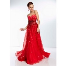 A Line Sweetheart Neckline Long Red Chiffon Beaded Crystal Party Prom Dress