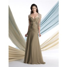 A Line Sweetheart Open Back Chiffon Mother Of The Bride Evening Dress With Lace Jacket