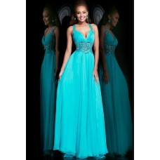 A Line Sweetheart Open Back Long Turquoise Chiffon Beaded Prom Dress With Straps