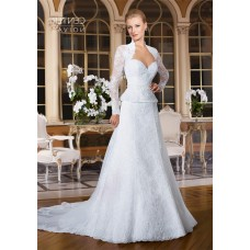 A Line Sweetheart Peplum Lace Wedding Dress With Long Sleeve Bolero Jacket