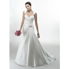 A Line Sweetheart Ruched Satin Corcet Wedding Dress With Straps